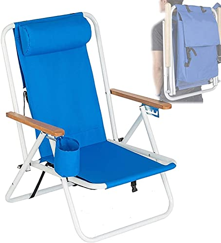 LLKK Silla de playa plegable al aire libre, ajustable portátil resistente, adecuado para pesca, camping, senderismo, con taza, azul portátil