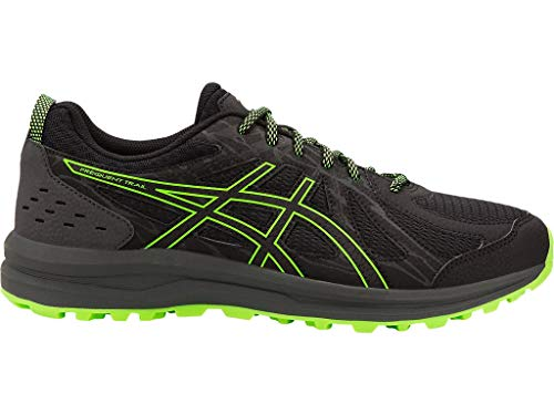 ASICS Men's Frequent Trail Running Shoes, 10.5M, Black/Green Gecko