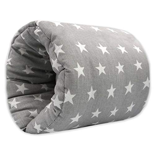 Cojin Lactancia Bebe - almohada de lactancia materna, Mini Cojín de lactancia para viajes, lavable (26 cm x 16 cm, Gris con estrellas blancas - Algodón)