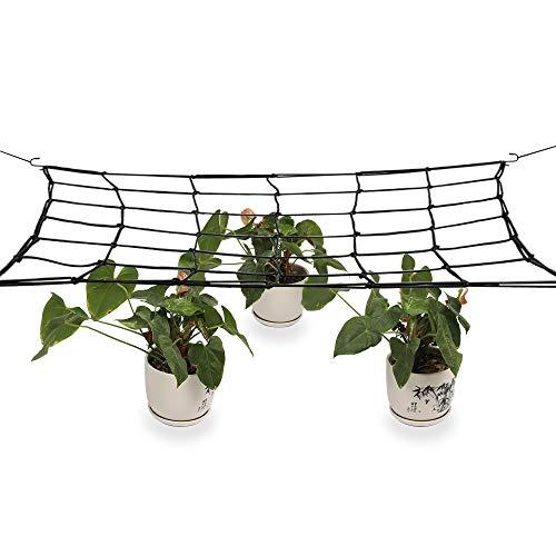 JYCRA Elastisches Spaliernetz, flexibles Gartenzeltnetz, Pflanzenstütznetz mit Stahlhaken, passend für 1,2 x 1,2 m und mehr, Größe 49