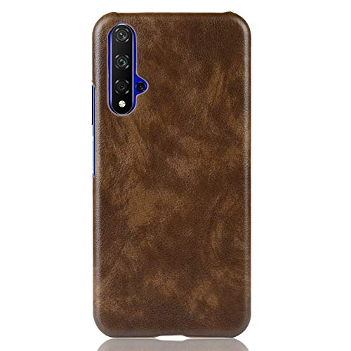 GOGODOG Kompatibel mit Huawei Nova 5T Hülle Vollständige Abdeckung Ultra dünn Matte Anti-Rutsch Kratzen Beständig Leder Hartschale (Braun)