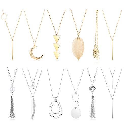 Besteel 12PCS Long Pendant Necklace Set Simple Bar Leaf Circle Tassel Layer Y Strands Necklaces for Women