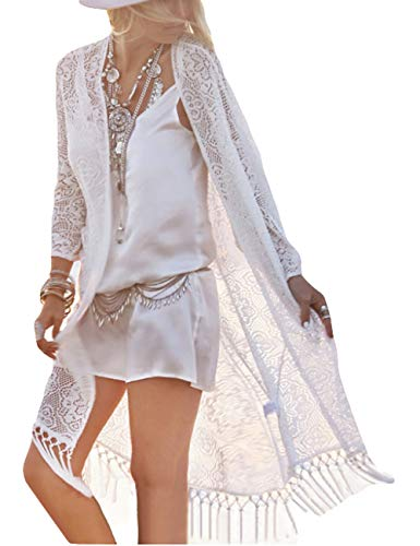Bsubseach Damen Sexy Weiß 3/4 Ärmel Spitze Quaste Quasten Kimono Badeanzug Bademode Bikini Covered Bademode