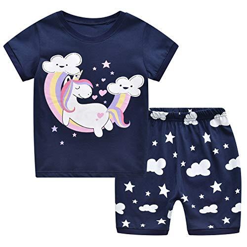 MIXIDON Niña Pijamas Unicornio Infantil Verano Ropa Chica Manga Corta(Morado,3 Años)