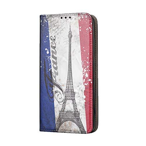 Hülle für iPhone 12 Pro Max 6,7 Handyhülle Motiv 1178 Paris Eifelturm Frankreich Blau Weiß Rot Premium Smart aus Kunstleder einseitig bedruckt HandyCover Handyhülle für iPhone 12 Pro Max 6,7 Hülle