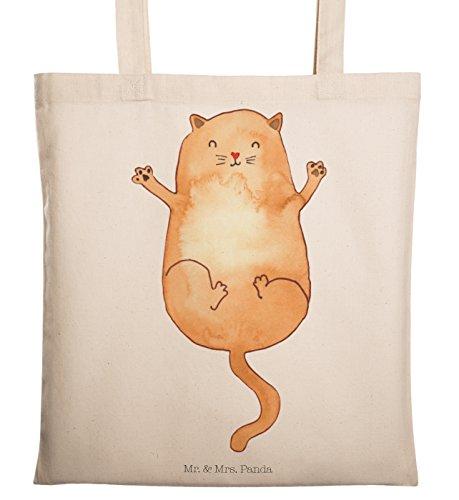 Mr. & Mrs. Panda Einkaufstasche, Stofftasche, Tragetasche Katzen Umarmen - Farbe Transparent