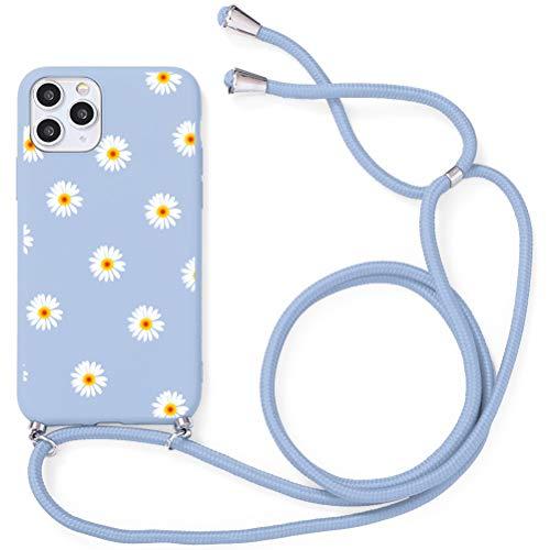 Yoedge Funda con Cuerda para iPhone 7 Plus/8 Plus-5.5', Funda de Silicona Antideslizante Suave TPU para Teléfono Móvil con Colgante Ajustable Collar Correa para el Cuello Cadena Cuerda, Margarita