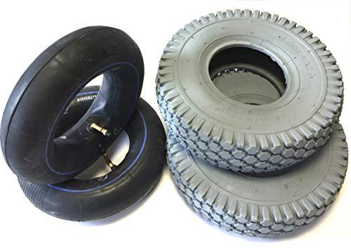 Lot de 2 pneus de fauteuil roulant 4.10/3.50-4 gris + 2 chambres à air coudé, pneus de blocage puissants, stable 4 pneumatiques pneumatiques pour scooter