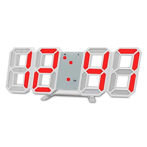 Skyllc Orologio digitale a LED Orologio da parete elettronico stereo 3D Stile moderno cinese Glow in the Dark per soggiorno rosso