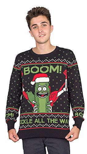 Ripple Junction Rick and Morty Boom! PickleRick Ugly Christmas Sweater...
