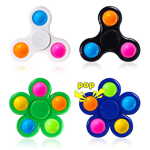 Moon Wood Pop Fidget Spinners 4 Pack- Simple Popper Spinner Fidget Toy Packs- Push Bubble Fidget Sensory Game- Party Favor Prize for Kids Adults Stress Relieve