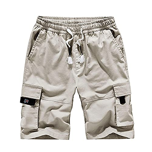 XYYGF 2021 Men's Summer Multi-Pocket Overalls Shorts Cotton Five-Point Pants Loose Large Size Casual Pants-Off_White_XL