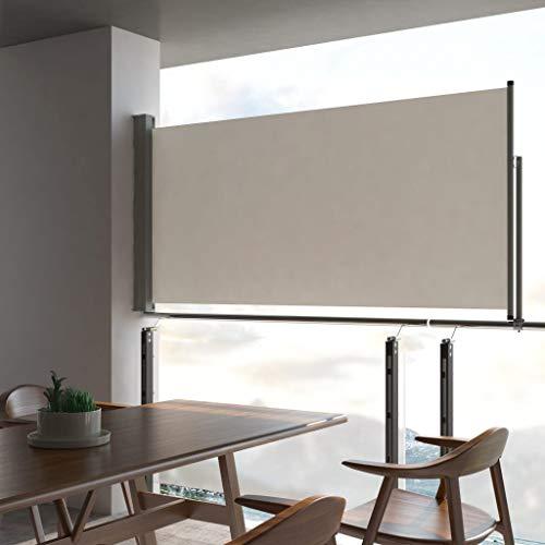 UnfadeMemory Toldo Lateral Retráctil para Balcón Terraza o Patio,Protección Solar,Protección Solar,Color Opcional,Dimensiones Opcional (120x300cm, Crema)