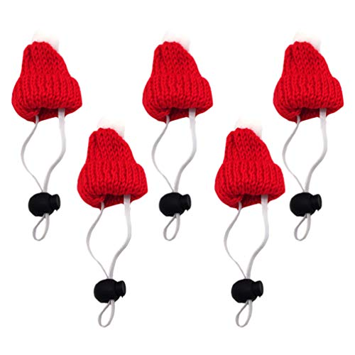 Amosfun 5 minigorros de Navidad de punto para muñecas, sombrero de mascota, sombrero de Navidad, decoración de vino, incluye miniatura, gorro de Navidad, DIY, artesanía, fabricación de joyas