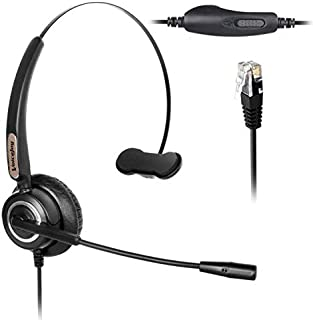 Adjustable Volume+Mute Switch+Telephone Headset Monaural with Noise Canceling Mic for Yealink All Models T22P T26P T28P Av...