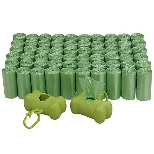 Annkky 1200 Conteggi Sacchetto Di Cacca, 2 Dispenser, Piccoli Sacchetti Di Spazzatura Da 60 Rotoli, Verde Sacchetto Di Cacca Sacchetti Per Cani