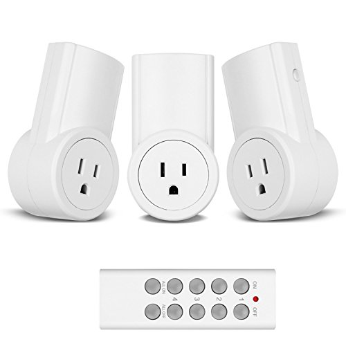 Etekcity 3 Pack Remote Control Outlets Wireless Light Switches for Household Appliances, Unlimited Connections, FCC ETL Listed, White (3Rx-1Tx)