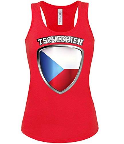 Tschechien Czech Republic Czechia Fussball Fußball Trikot Look Jersey Fanshirt Damen Frauen Mädchen Tank Top T-Shirt Tanktop Fan Fanartikel Outfit Bekleidung Oberteil Artikel