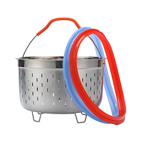 Kitchen Steamer Basket,Geezo Compatible with Instant Pot 6 Qt Pressure Cooker, 2 Pack InstaPot Rings 6 qt,Steamer Inner Insert Accessories, Silicone Seal Replacement, Strainer Ideal for Cooking Egg,