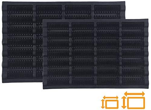 GadHome hochbeanspruchsbare Schwarz Fußmatte 45 x 75 cm | Matte aus Kokosfaser und Gummi für drinnen und draußen | rutschfeste und waschbare Schmutzfangmatte mit Wasserablauflöchern