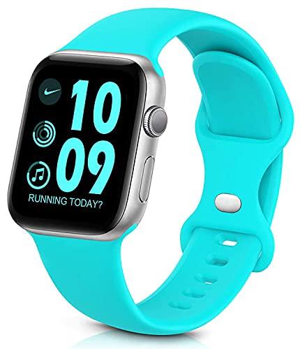 Sichy Cinturino Compatibile con Apple Watch 44mm 40mm 38mm 42mm, Cinturini da Polso sostitutivi in Silicone compatibili con iWatch Series 6/5/4/3/2/1/SE,44mm/42mm S/M,Verde Acqua
