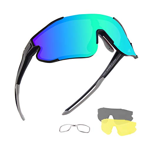 DUDUKING Occhiali da Ciclismo Polarizzati Uomo Donna, Occhiali da Sole Sportivi, Anti-UV con 3 Lenti Intercambiabili per Corsa Pesca Arrampicata
