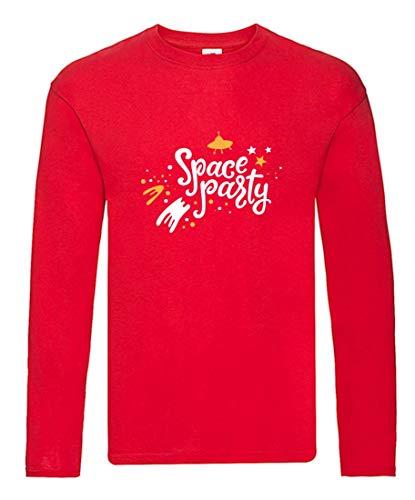Camiseta de manga larga, diseño de nave espacial con estrellas, manga larga, unisex, para niños y niñas rojo 116 cm