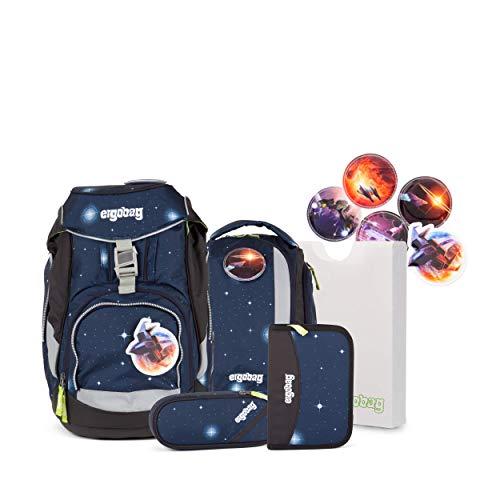 Ergobag Pack KoBärnikus Galaxy, ergonomischer Schulrucksack, Set 6-teilig, 20 Liter, 1.100 g, Blau