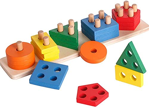 KidzBell Wooden Sorting & Stacking Toy, Shape Sorter Toys for Toddlers, Montessori Color Recognition Stacker, Early Educational Blocks Puzzles 1 2 3 Years Old Age Boys and Girls (5 Shapes) Toys,