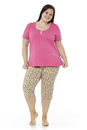 Mabel Intima Damska piżama Mujer Grande Manga Corta y pantalón Pijama Talla bardzo duży rozmiar piżama z krótkim rękawem i spodnie pirackie rozmiar 58, 58-62