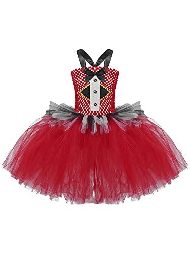 IEFIEL Disfraz Nia Halloween Vestido de Princesa Vampiro Falda de Tul Disfraces Payaso Bruja con Mscara Vestido de Tut Danza Traje de Fiesta Cosplay Rojo 8-10 aos
