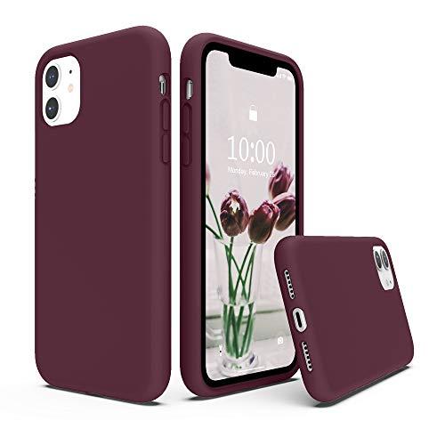 SURPHY Cover Compatibile con iPhone 11, Custodia per iPhone 11 Silicone Liquido Cover Antiurto con Fodera in Microfibra, Full Body Protettiva Case per iPhone 11 6.1'(2019), Prugna