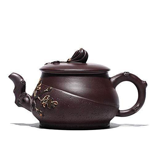DX Zisha theepot, handgemaakte vintage retro unieke oosterse origineel ontwerp paars klei keramische thee pot, 410ml, bergamot bloemen vorm