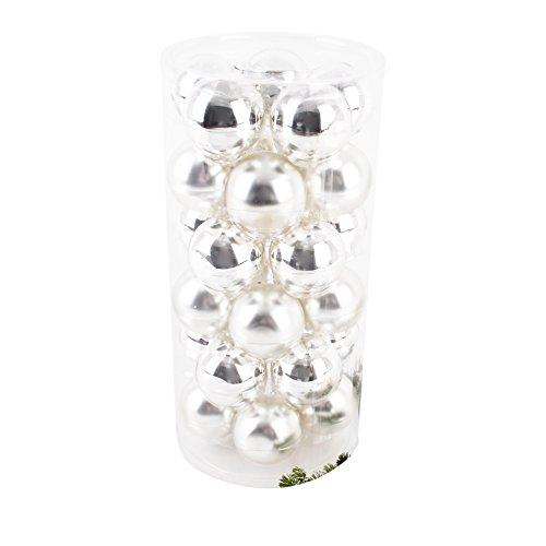 Dadeldo Living & Lifestyle Weihnachtskugel Premium 30er Set Glas 6cm Xmas Baumschmuck (Silber)