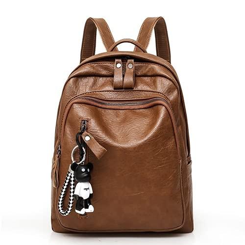 Bolso colgante de la bolsa de la mujer lindo bolso de la PU de cuero de las señoras de la moda Daypacks de las muchachas Satchel Crossbody Satchel, Marrón, M