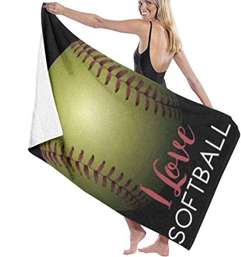 Beach Towel I Love Softball Soft And Funny For Swimming Bath Towel Microfiber Men And Women Lightweight And Quick-Drying Towel For Travel,Camping,Gym,Beach,Yoga