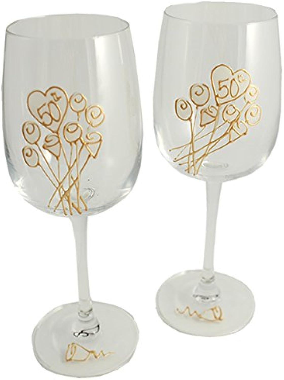 50th Wedding Anniversary Wine Glasses Pair