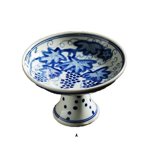 Bowl Platos de Porcelana Azul y Blanco, creativos bandejas de té pintadas a Mano, decoración Interior de Frutas Altas...