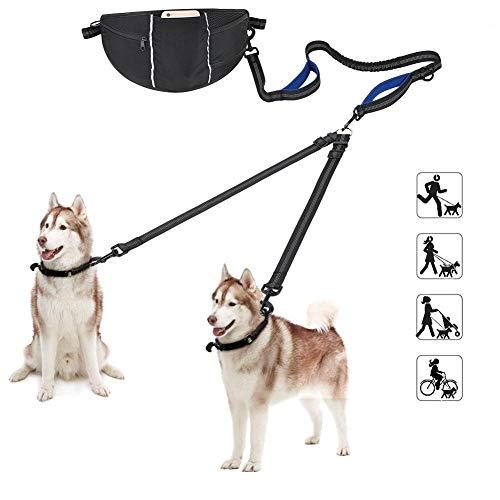 Handsfree hondenriem, dubbele hondenriem met reflecterende naden, verstelbare heupgordel voor meerdere taken, 360 ° rotatie en klitten voorkomen, geschikt voor alle hondenmaten