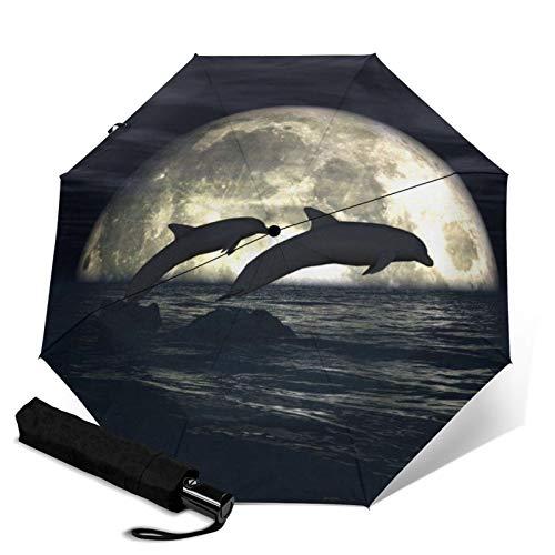 Dolphin,Waterproof Automatic Folding Umbrella Manual Tri-Fold Umbrella Portable Compact Umbrella for Daily