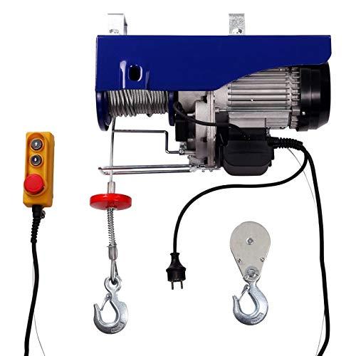 Elektrische Seilwinde Seilzug Seilhebezug 500 kg / 1000 kg 12 m/6 m mit Kabelfernbedienung Motorwinde | 1,6m Kabellänge| 1600 W