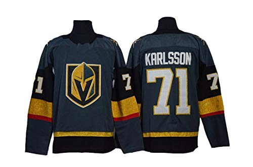 Karlsson # 71 Eishockeytrikot Golden Knights Hockey White Stitched Letters Numbers NHL Langes Eishockey Trainings Trikot,Green,XL