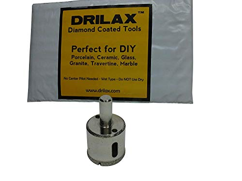 Drilax 1 1/4 Inch Diamond Hole Saw Drill Bit Tiles, Glass, Fish Tanks, Marble, Granite Countertop, Ceramic, Porcelain, Coated Core Bits Holesaw DIY Kitchen, Bathroom, Shower, Faucet Installation Size 1 1/4' Inches
