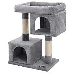 WIDENED TOP PERCH: Plush and extra large top lounger with raised edge offers prime relaxation for your feline friends THICKENED SCRATCH & STRETCH POSTS: Wrapped with natural sisal rope to allow nail scratching and promote exercise DUAL CONDO PLAYHOUS...