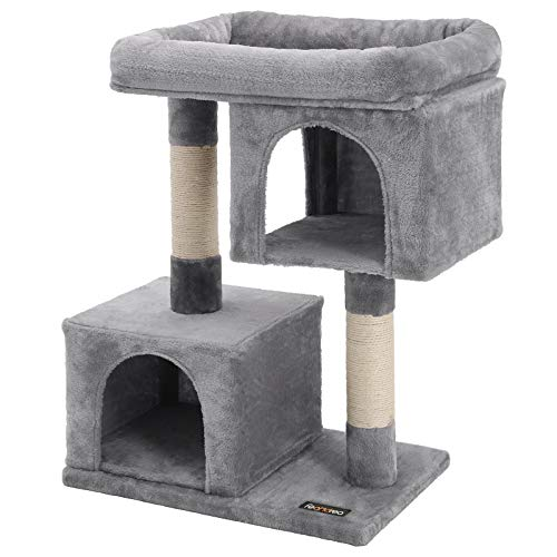 FEANDREA Cat Tree with Sisal-Covered Scratching Posts and 2 Plush Condos, Cat Furniture for Kittens, Light Grey PCT61W