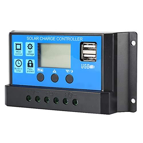 Lamker 30A 12V 24V Auto Solarladeregler Ladegerät Laderegler PWM Intelligenter Controller Solar Panel Regler mit USB