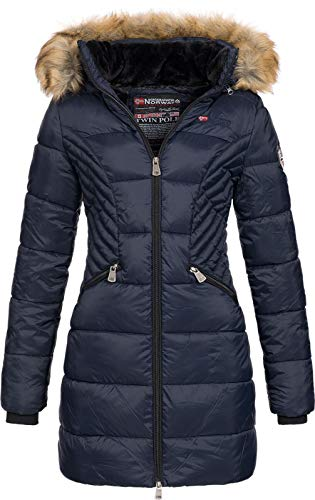 Geographical Norway ABEILLE - Parka grande para mujeres - Abrigo de invierno abrigado - Manga larga y cuello de piel sintética - Chaqueta para mujeres de tela resistente (MARINE M)