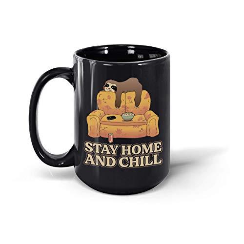 Stay Home and Chill Sloth - Taza de cerámica para café, 12...