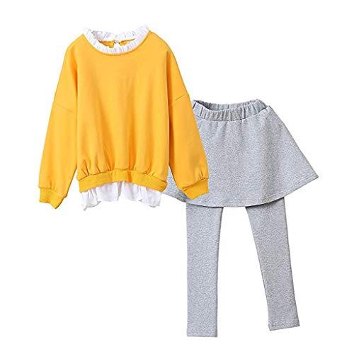 HEETEY Junge Mädchen Mode lässig Winter warm Baby-Winter-Karikatur gedruckte Oberseite Langärmliges Fledermaus-Shirt & Hose Kleidung Sets Outfits