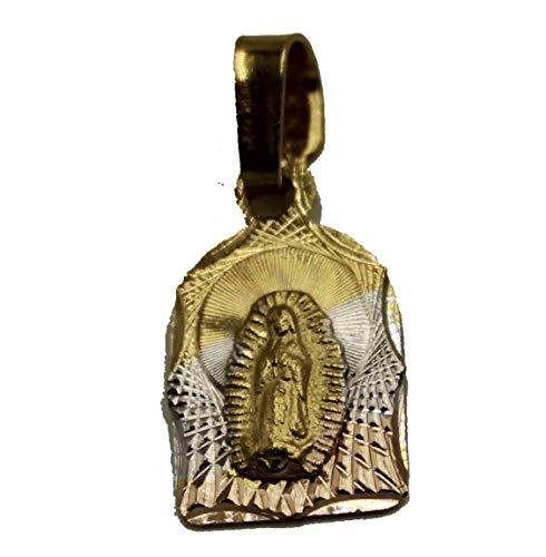 Diamantados of Florida Virgen de Guadalupe Medalla - Medalla de Nuestra Señora de Guadalaupe, Chapado en Oro de 14 Quilates, Tres Tonos, Colgante de Oro con Cadena de 50,8 cm